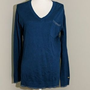 Tommy Hilfiger Navy Silver Wool Blend Sweater M
